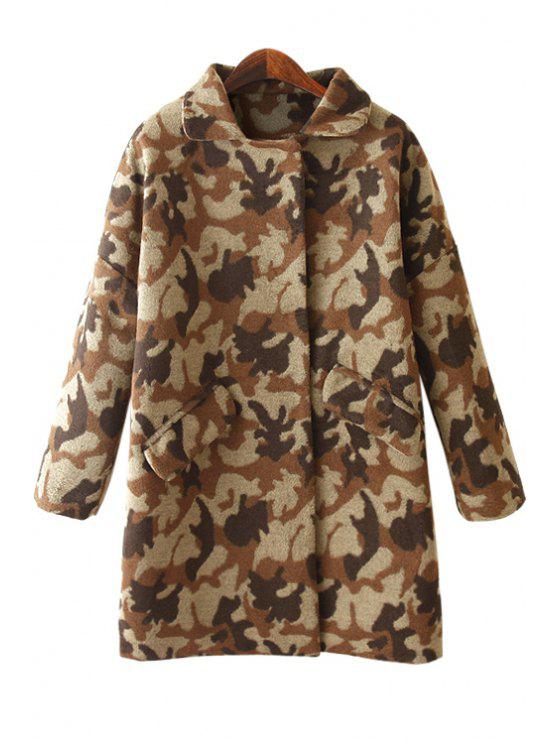 affordable Long Sleeve Camouflage Pattern Coat - KHAKI ONE SIZE(FIT SIZE XS TO M)