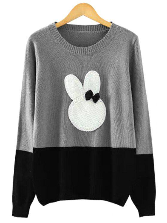 fancy Rabbit Pattern Color Block Sweater - GRAY ONE SIZE(FIT SIZE XS TO M)
