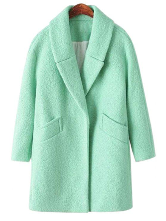 women's Solid Color Worsted Coat - MINT GREEN S