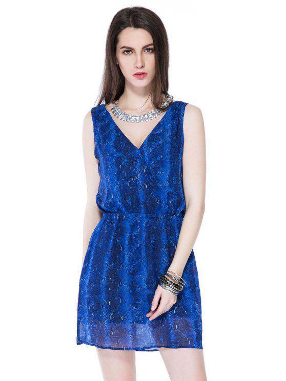 affordable Blue Print Plunging Neck Sundress - BLUE S