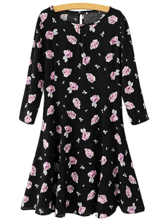 new Full Floral Print 3/4 Sleeve Dress - BLACK S