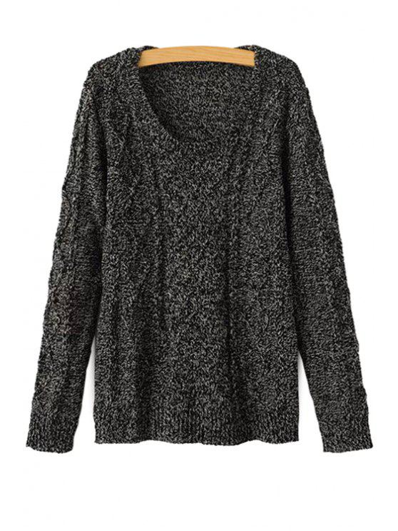 womens Cable-Knit Long Sleeves Sweater - BLACK ONE SIZE(FIT SIZE XS TO M)