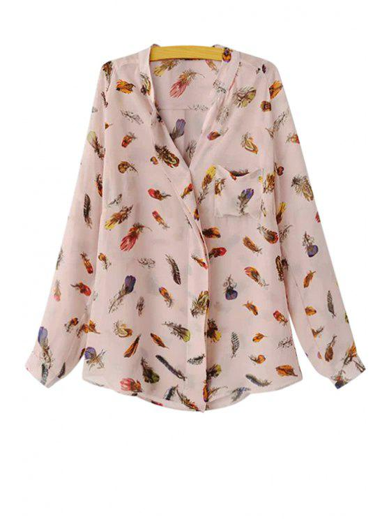 latest Long Sleeve Feather Print Shirt - PINK S