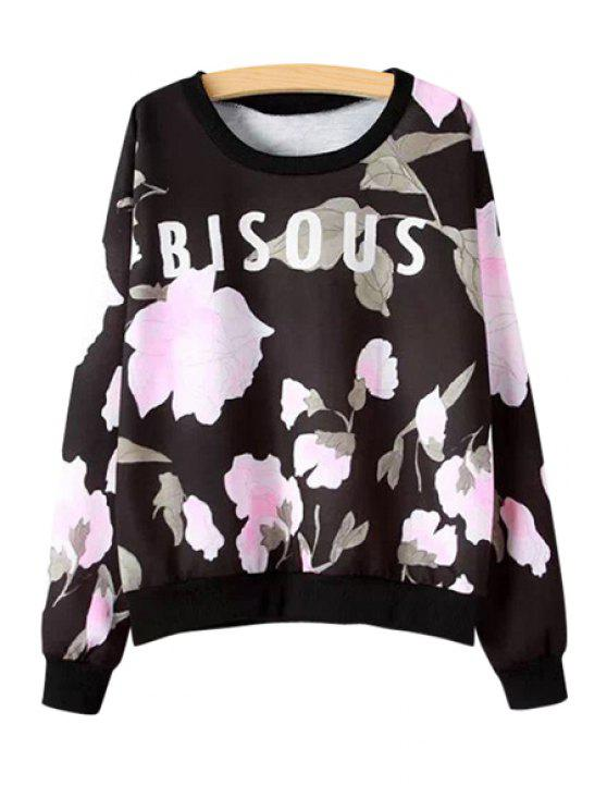 shop Floral and Letters Print Sweatshirt - BLACK S