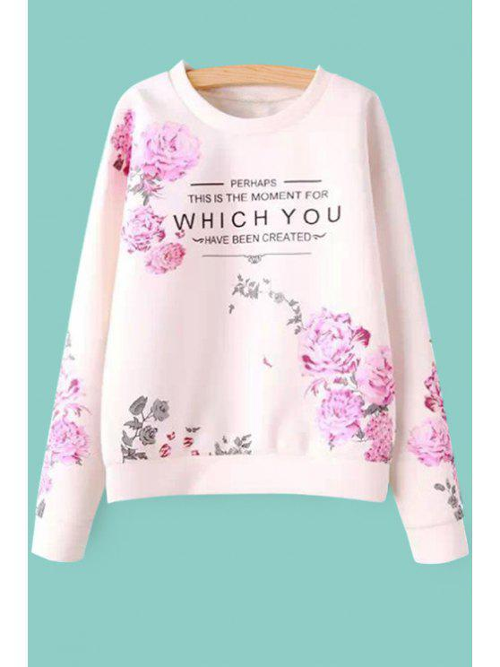 chic Flower and Letters Print Sweatshirt - SHALLOW PINK S