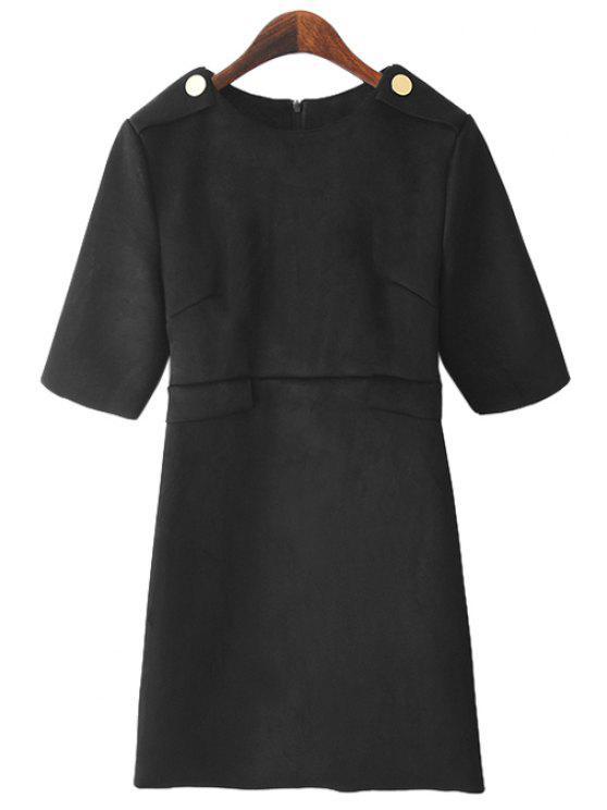 womens Half Sleeve Faux Leather Dress - BLACK M