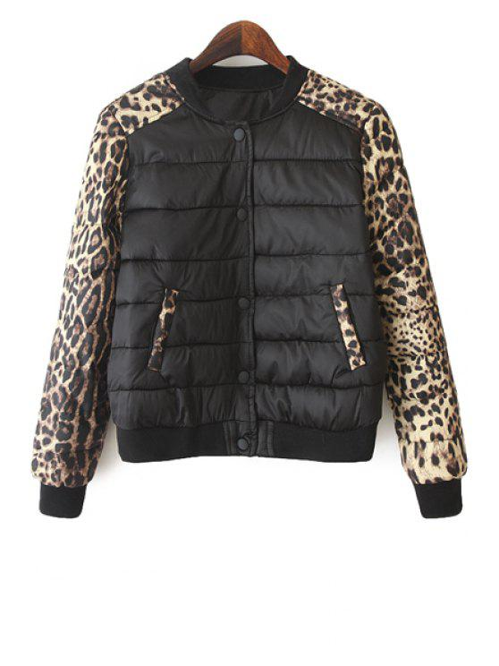 affordable Leopard Print Splicing Jacket - LEOPARD M