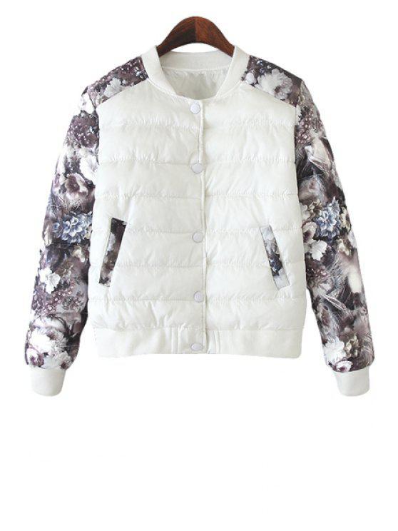 ladies Floral Print Splicing Jacket - WHITE M