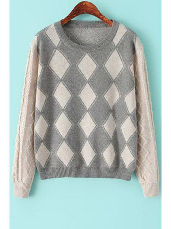 shop Jewel Collar Argyle Pattern Sweater - GRAY ONE SIZE(FIT SIZE XS TO M)