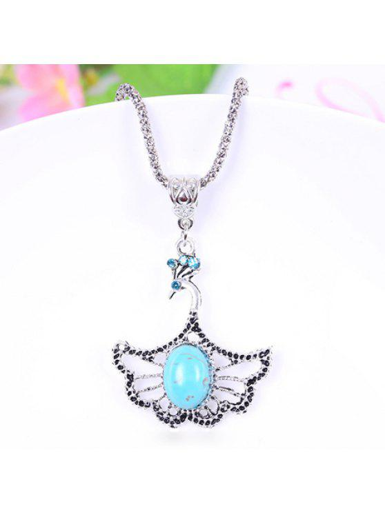 hot Chic Women's Bead Rhinestone Designed Openwork Peacock Sweater Chain Necklace - COLORMIX