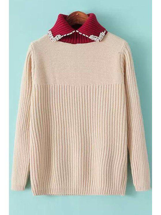online Color Block Beaded Sweater - PINK ONE SIZE(FIT SIZE XS TO M)