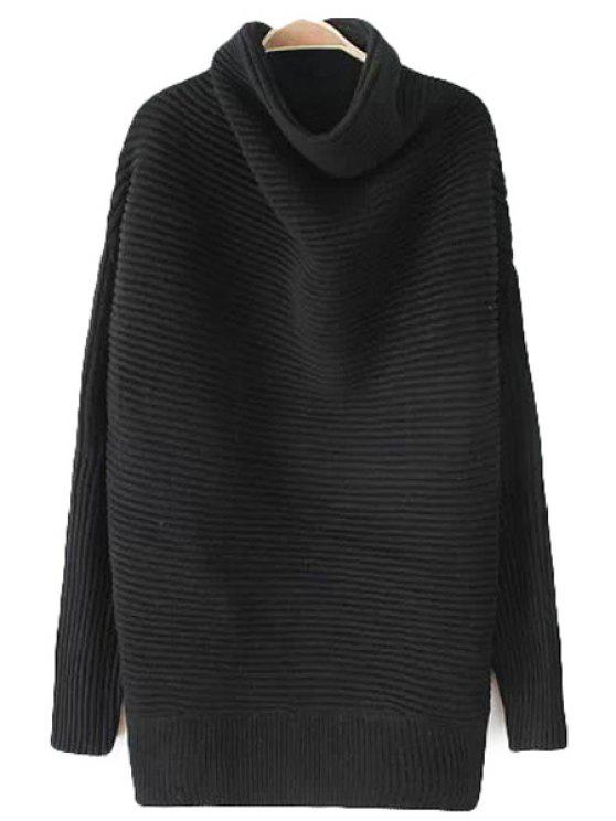 fancy Turtle Neck Black Sweater - BLACK ONE SIZE(FIT SIZE XS TO M)