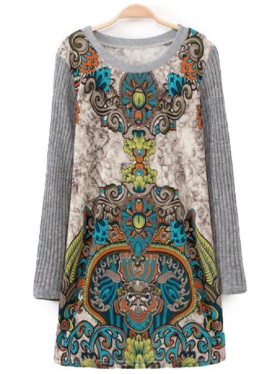 hot Retro Pattern Splicing Sweater Dress - APRICOT ONE SIZE(FIT SIZE XS TO M)