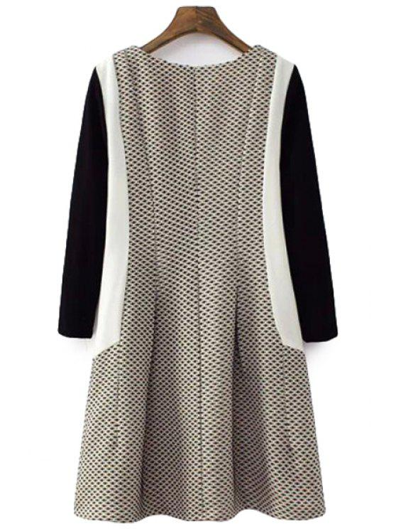 shop Color Block Long Sleeves Dress - COLORMIX S