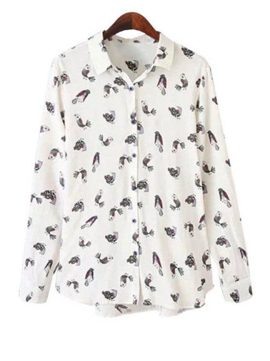 latest Shirt Collar Bird Print Shirt - WHITE S