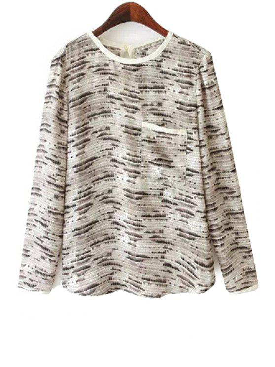affordable Long Sleeve Snake Pattern Blouse - COLORMIX S
