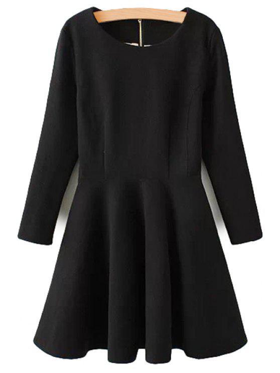 hot Long Sleeve Solid Color Dress - BLACK S