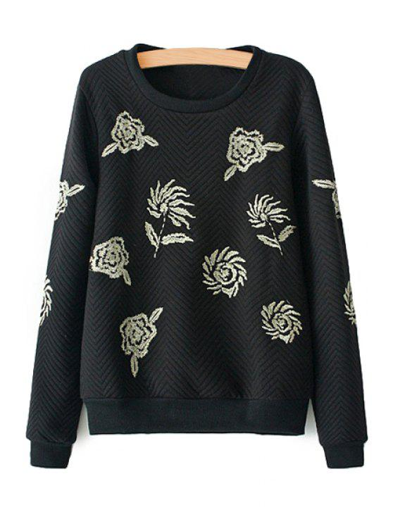 shop Floral Embroidery Sweatshirt - BLACK S