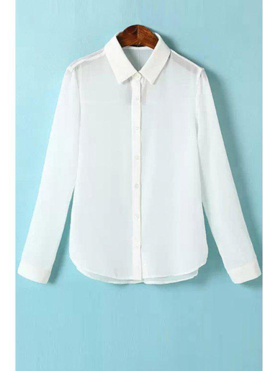 hot Shirt Neck Solid Color Shirt - WHITE S