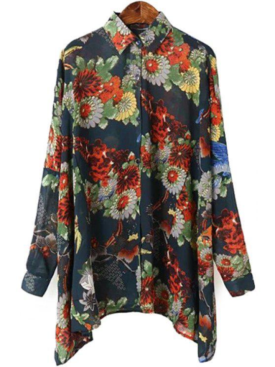 fashion Bat-Wing Sleeve Floral Print Shirt - COLORMIX M