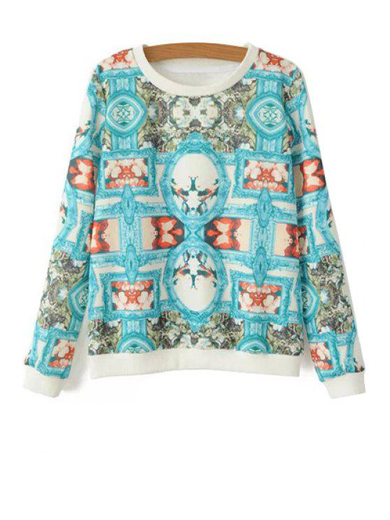 chic Long Sleeves Retro Print Sweatshirt - BLUE S