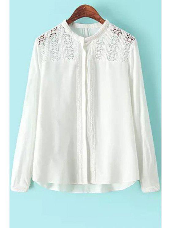 affordable Crochet Flower Splicing Shirt - WHITE S