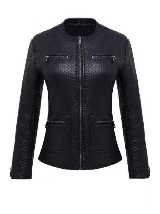 trendy Long Sleeve Black PU Leather Jacket - BLACK S