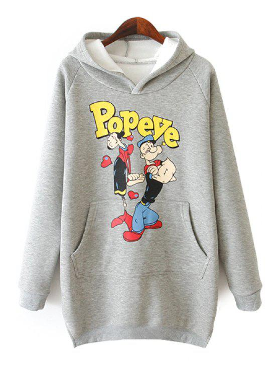 hot Characters Print Long Sleeve Hoodie - GRAY ONE SIZE(FIT SIZE XS TO M)