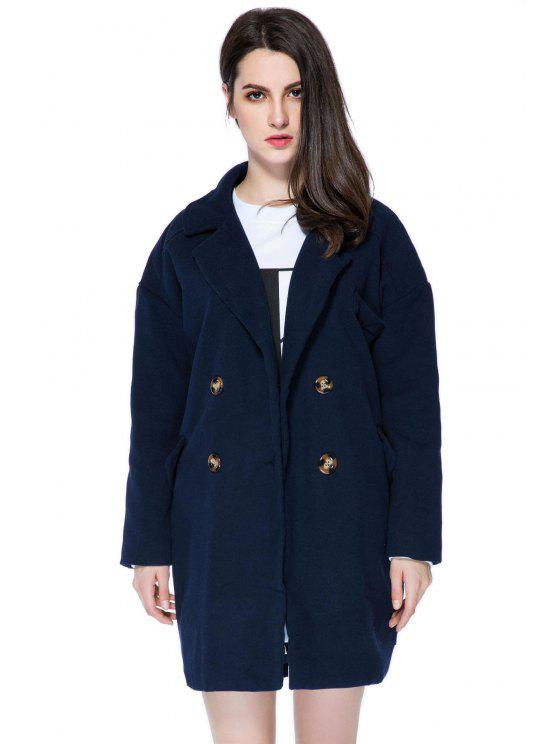 lady Solid Color Lapel Loose-Fitting Coat - PURPLISH BLUE L