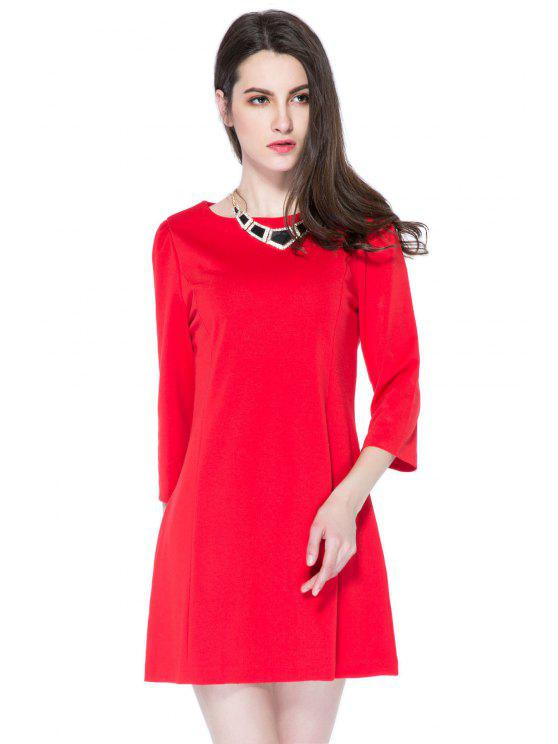 online 3/4 Sleeve Solid Color A-Line Dress - RED S