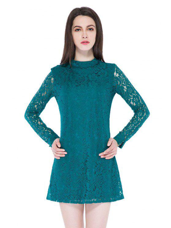 shop Solid Color Long Sleeve Bodycon Dress - GREEN XS