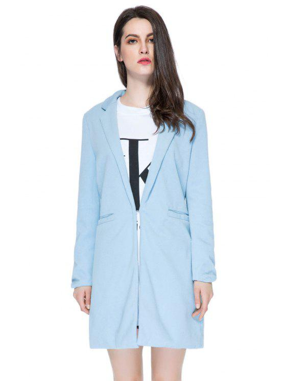 Solide Couleur pied de col Manteau de laine peignée - Bleu XL