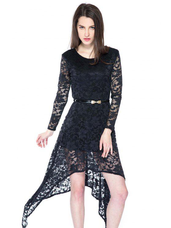 ladies Black Irregular Hem Lace Dress - BLACK XS