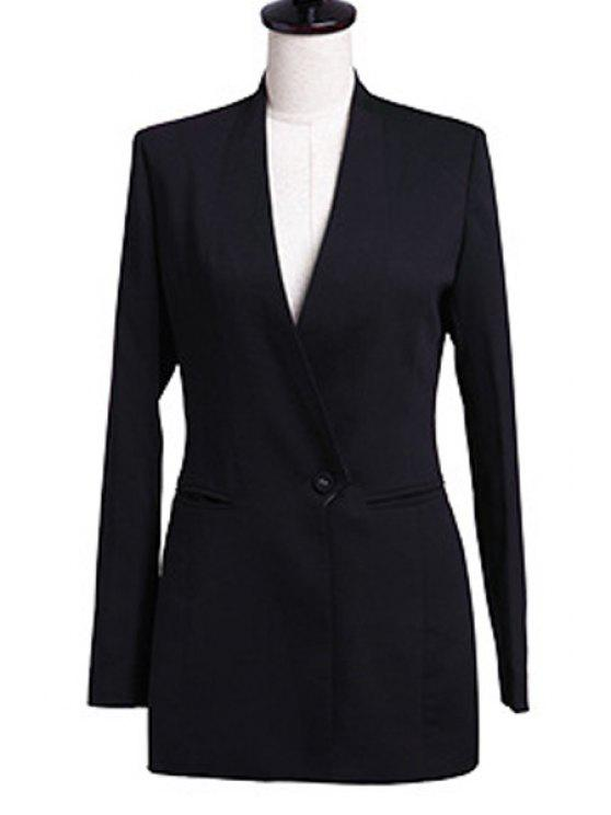 latest V-Neck Solid Color Blazer - BLACK L