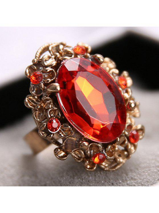 online Classic Women's Faux Gem Flower Hem Decorated Ring - RED ONE SIZE(FIT SIZE XS TO M)