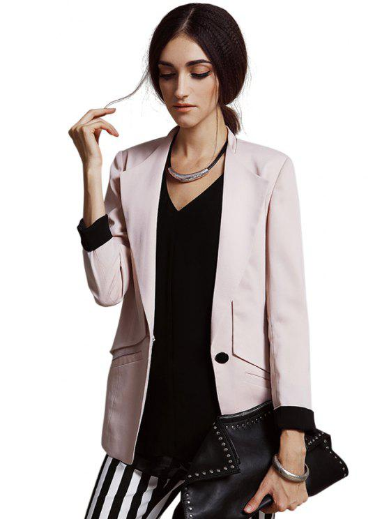 sale Turn-Down Neck Solid Color Blazer - APRICOT S