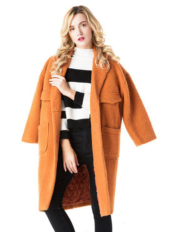 latest Worsted Lapel Solid Color Coat - ORANGE S