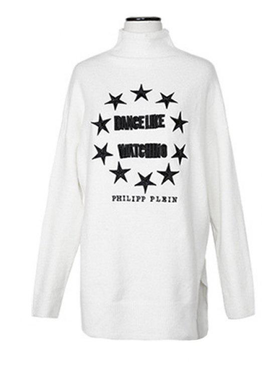 unique Star and Letter Pattern Sweater - OFF-WHITE ONE SIZE(FIT SIZE XS TO M)