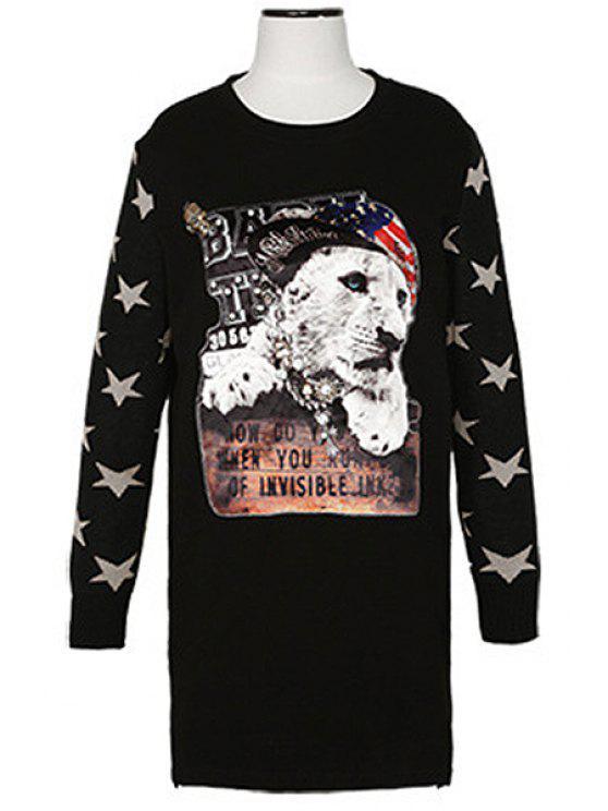 sale Long Sleeve Animal Print Sweatshirt - BLACK ONE SIZE(FIT SIZE XS TO M)
