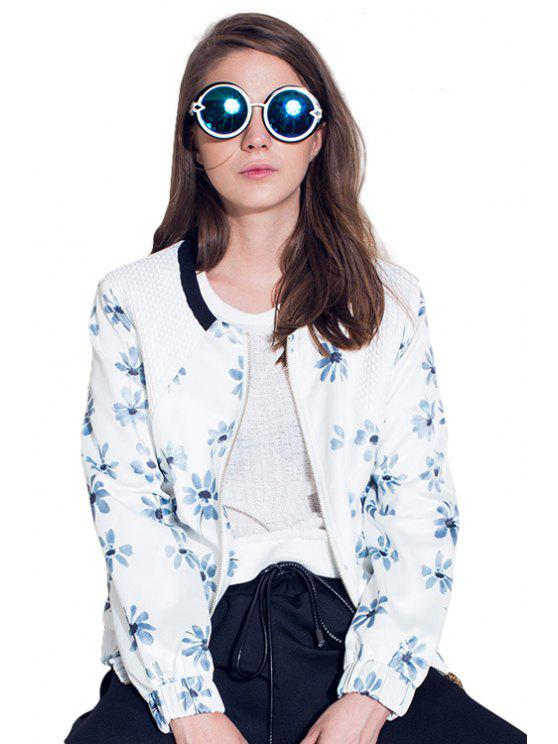 unique Round Neck Floral Print Jacket - WHITE S