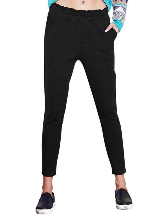 trendy Elastic Waist Solid Color Pants - BLACK S