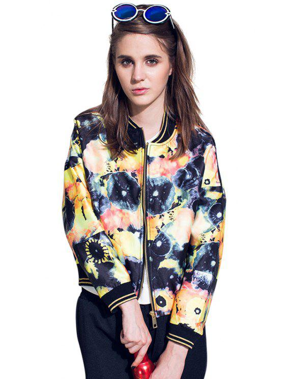 womens Stand Collar Abstract Print Jacket - COLORMIX M