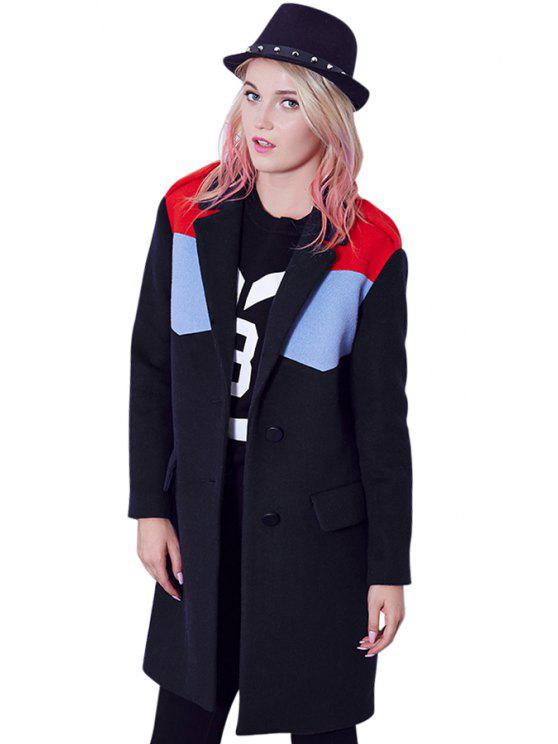 outfit Long Sleeves Color Block Coat - BLUE M