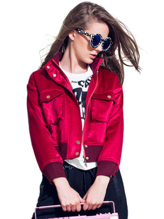 ladies Long Sleeves Solid Color Jacket - RED S