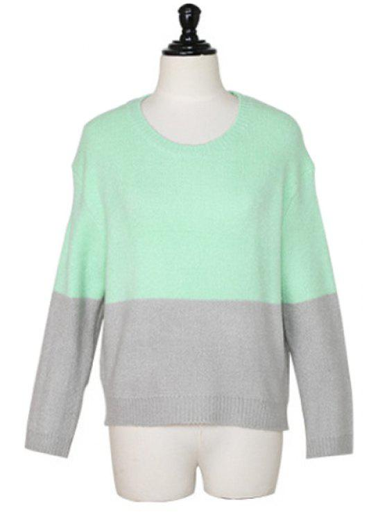 outfit Round Neck Color Block Sweater - GREEN ONE SIZE(FIT SIZE XS TO M)