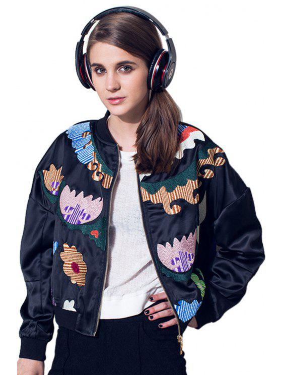 buy Stand Collar Embroidery Jacket - BLACK S
