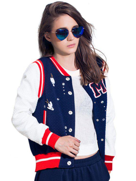 women's Beaded Color Block Jacket - BLUE S