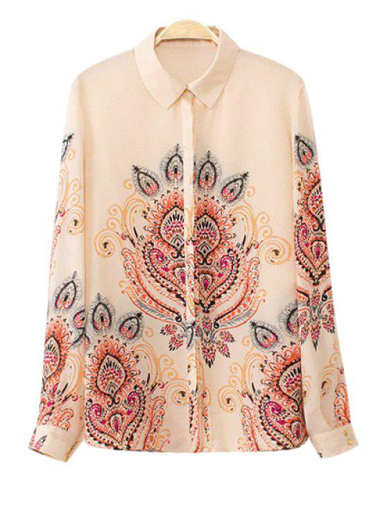 affordable Turn-Down Neck Retro Print Shirt - APRICOT S