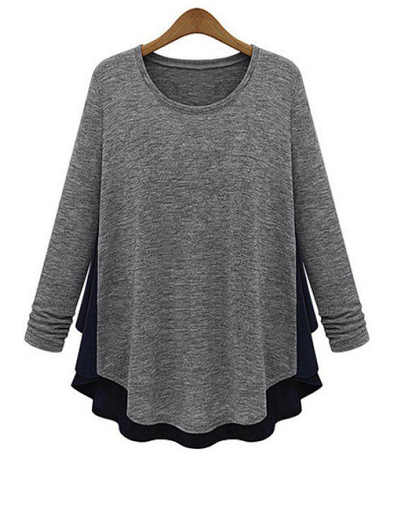 shops Scoop Neck Chiffon Splicing Knitwear - LIGHT GRAY L