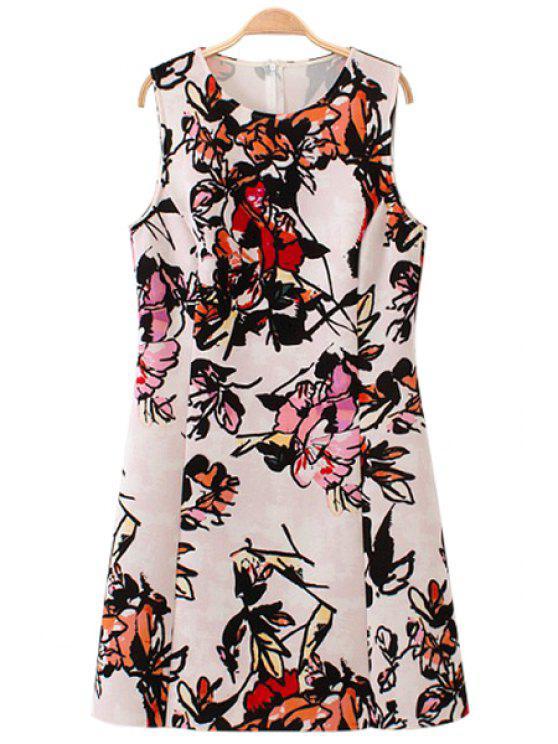 latest Floral Pattern Jewel Neck Sundress - WHITE S